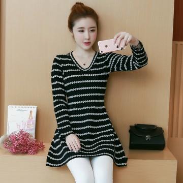 8048 # plus size women's new long shirt stripes v neck knit dress