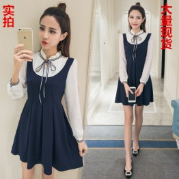 5576 fake two piece casual long sleeve pleated dress