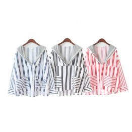 8378 chic navy style stripes hooded fake two pieces irregular shirt