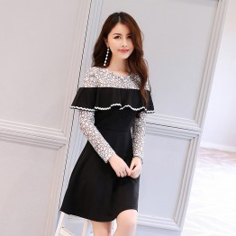 2626 autumn hollow out lace contract color shawl dress