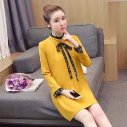 8282 bow tie fashion pregnant women dress