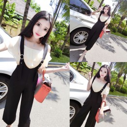 4320 fashion two pieces boat neck shirt + casual suspender pants