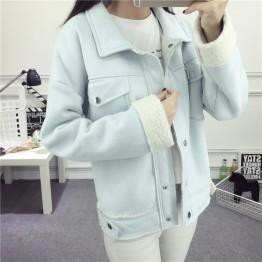 1859  lapel long sleeve warm cotton lamb wool jacket