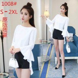 1008 new women's ladies temperament pure color boat neck shirt