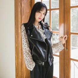 8861 loose large size lap PU leather vest