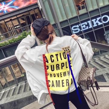 South Korea ulzzang loose spring and autumn clothing belt jacket female Harajuku students spell color couple BF baseball service