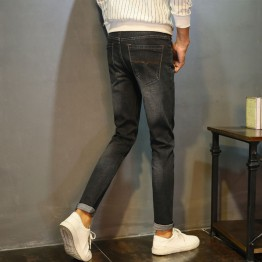 Men's new denim Korean version of the straight Slim jeans male young boys leisure stretch feet trousers # 137