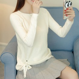5091 Korean fashion sweater pullover short autumn new pure color long sleeves sweater