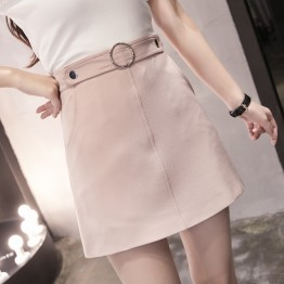 805 solid color high waist A line skirt one step skirt