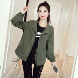 1983 loose casual short  army green jacket