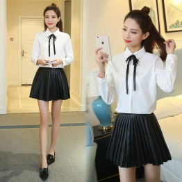 8015 autumn new bowknot sweet and lovely white shirt