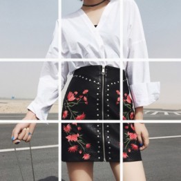 608 autumn new embroidery high waist pu leather skirt