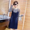 171-1 large size women spring new two-piece stripes t-shirt and denim dress