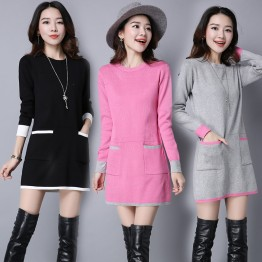 8068 large size loose mid-length sweater dress