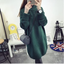619 high-necked long loose thick sweater