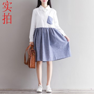 8237 new fresh art retro striped long-sleeved shirt dress