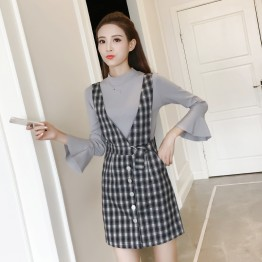 8608 trumpet sleeve tops with checks vest skirt two pieces
