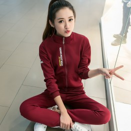 7121 Korea fashion sports zipper jacket with pants