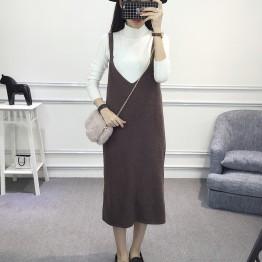8011 Korean women's V-neck woolen knitted dress