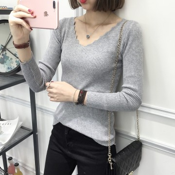 8093 # Korean fashion thin V collar sweater students autumn and winter slim sweater