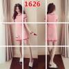 1626 Korean fashion short-sleeved ice silk sweet embroidery knit dress
