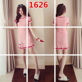 1626 Korean fashion short-sleeved ice silk sweet embroidery knit dress