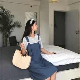 2187 Korean preppy style fake two piece dress