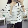 8973 stripes long sleeve knit sweater