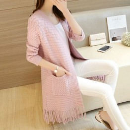 7802 Autumn new tassel hem knitted cardigan sweater
