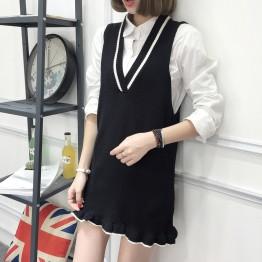8098 knitted V neck vest bottom dress