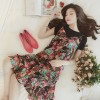 6088 new pastoral wind floral flower leaf side harness chiffon dress and short sleeve T-shirt two-piece