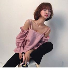 979 popular temperament girl lotus leaf off shoulder shirt
