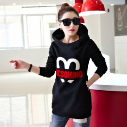 5339 thicken fleece long hooded sweatshirt