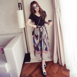 680 short-sleeved v neck printed chiffon dress