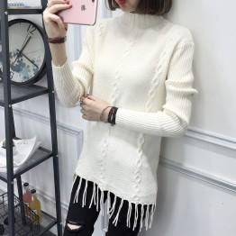 8095 loose semi-high collar tassel hem long sweater