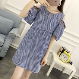576 off shoulder fashion embroidery stripes dress