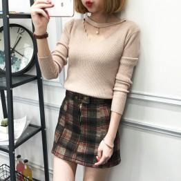 8076 Korean fashion slim  solid color sweater