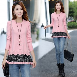 5530 Autumn and winter large size loose fake two piece sweaters