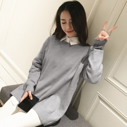 2216 Korean fashion simple color loose large knitted sweater