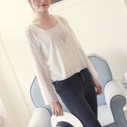 6605 Ice silk hemp cardigan short long-sleeved suncreen shirt