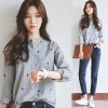 1583 fresh college style stripes embroidered long sleeve shirt