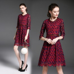 6279 autumn new slim eyelashes lace seven-point sleeve dress