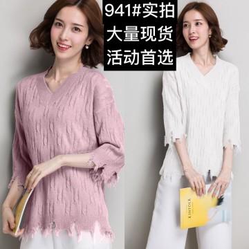Korean fashion lazy random wind V-collar twist in the sleeves sweater