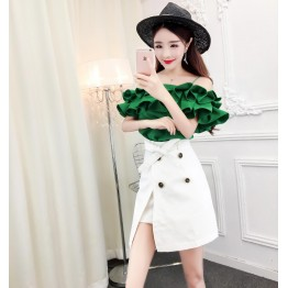 8009 lotus leaf petals boat neck shirt with double-breasted irregular skirt