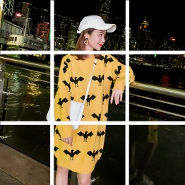 7038 printing casual loose round neck knit dress