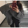 Korean style simple striped loose long sleeve T shirt
