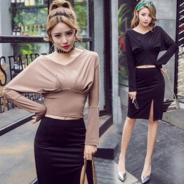 7102 fashion sexy V-neck off shoulder long sleeve T-shirt