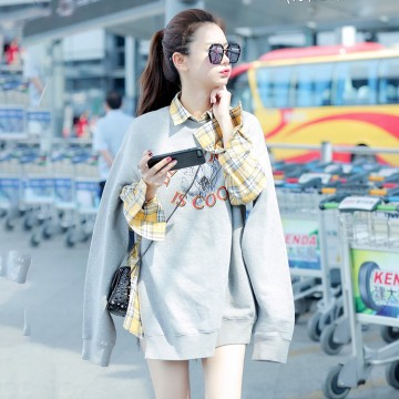 2017 early autumn gray embroidery printed sweater withe yellow shirt