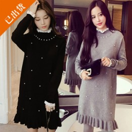 1670 plus size pearls round neck knitting sweater dress