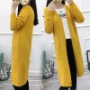 8004 autumn and winter pure color pocket loose cardigan sweater coat